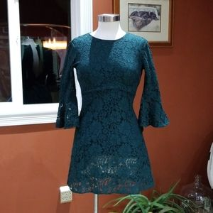 Lulus green lace bell sleeved dress
